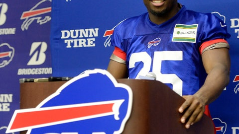 Buffalo Bills running back LeSean McCoy (25) speaks to the media after the team's NFL football practice in Orchard Park, N.Y., Tuesday, June 12, 2018. (AP Photo/Adrian Kraus)