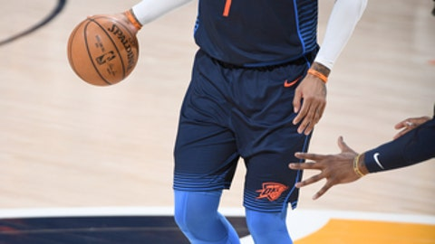 SALT LAKE CITY, UT - APRIL 27: Carmelo Anthony #7 of the Oklahoma City Thunder handles the ball against the Utah Jazz in Game Six of the Western Conference Quarterfinals during the 2018 NBA Playoffs on April 27, 2018 at Vivint Smart Home Arena in Salt Lake City, Utah. (Photo by Garrett Ellwood/NBAE via Getty Images)