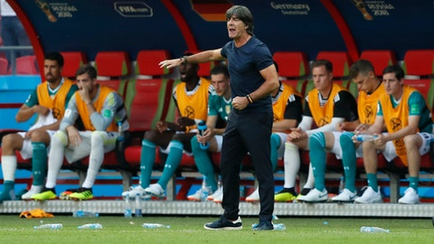 Germany head coach Joachim Loew directs his players during the group F match between South Korea and Germany, at the 2018 soccer World Cup in the Kazan Arena in Kazan, Russia, Wednesday, June 27, 2018. (AP Photo/Frank Augstein)