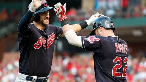 Cleveland Indians' Lonnie Chisenhall, left, is congratulated by teammate Jason Kipnis after hitting a solo home run during the second inning of a baseball game against the St. Louis Cardinals on Wednesday, June 27, 2018, in St. Louis. (AP Photo/Jeff Roberson)