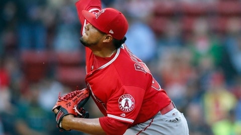 Los Angeles Angels' Jaime Barria pitches during the first inning of a baseball game against the Boston Red Sox in Boston, Thursday, June 28, 2018. (AP Photo/Michael Dwyer)