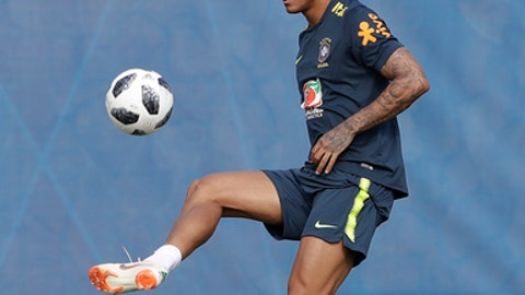 Brazil's Danilo practices during a training session, in Sochi, Russia, Friday, June 29, 2018. Brazil will face Mexico on July 2 in the round of 16 for the soccer World Cup. (AP Photo/Andre Penner)