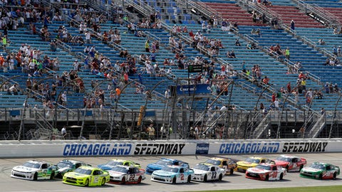 Drivers start the NASCAR Xfinity Series auto race at Chicagoland Speedway in Joliet, Ill., Saturday, June 30, 2018. (AP Photo/Nam Y. Huh)