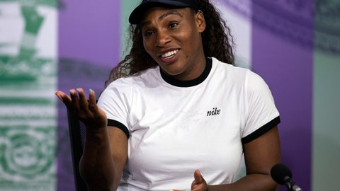US tennis player Serena Williams reacts, during a press conference ahead of the Wimbledon Tennis Championships in London, Sunday July 1, 2018. (Jed Leicester/Pool Photo via AP)