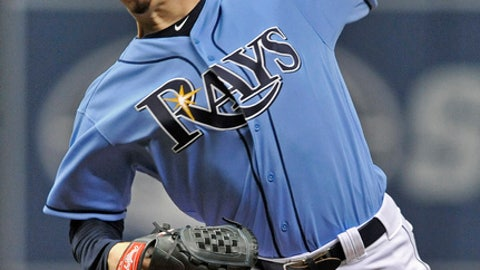 Tampa Bay Rays starter Blake Snell pitches against the Houston Astros during the first inning of a baseball game Sunday, July 1, 2018, in St. Petersburg, Fla. (AP Photo/Steve Nesius)