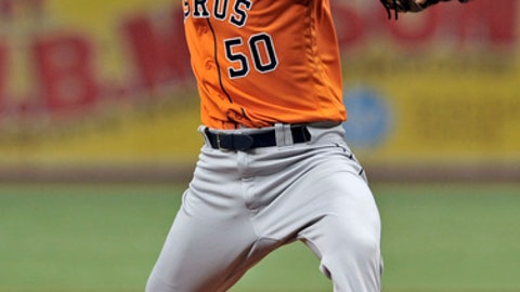 Houston Astros starter Charlie Morton pitches against the Tampa Bay Rays during the first inning of a baseball game Sunday, July 1, 2018, in St. Petersburg, Fla. (AP Photo/Steve Nesius)