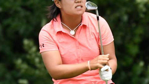 Nasa Hataoka, of Japan, reacts to her tee shot on the 17th hole during the final round of the KPMG Women's PGA Championship golf tournament at Kemper Lakes Golf Club in Kildeer, Ill., Sunday, July 1, 2018. (AP Photo/David Banks)