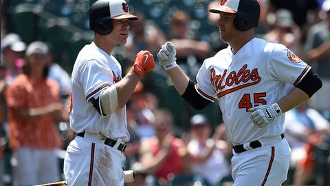 Baltimore Orioles Mark Trumbo, right, is congratulated by Chris Davis after hitting a home run against the Los Angeles Angels in the fifth inning of a baseball game, Sunday, July 1, 2018, in Baltimore. (AP Photo/Gail Burton)