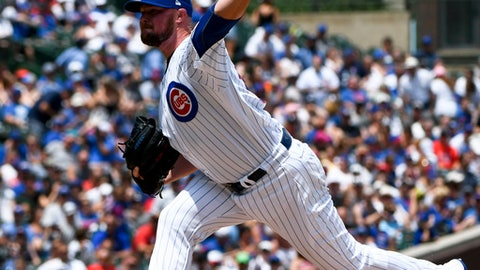 Chicago Cubs starting pitcher Jon Lester delivers during the first inning of an baseball game against the Minnesota Twins, Sunday, July 1, 2018, in Chicago. (AP Photo/Matt Marton)