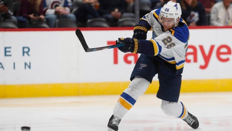 FILE - In this Oct. 19, 2017, file photo, St. Louis Blues center Paul Stastny (26) scores a goal against the Colorado Avalanche in the second period of an NHL hockey game, in Denver. The Vegas Golden Knights have signed center Paul Stastny to a $19.5 million, three-year deal as part of a significant day in the free agent market. (AP Photo/David Zalubowski, File)