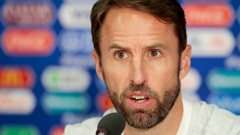 England head coach Gareth Southgate speaks during news conference on the eve of the match between Colombia and England at the 2018 soccer World Cup in the Spartak Stadium in Moscow, Russia, Monday, July 2, 2018. (AP Photo/Alexander Zemlianichenko)