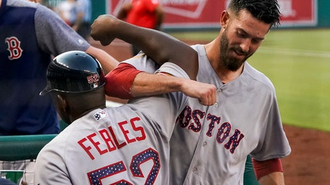 Boston Red Sox starting pitcher Rick Porcello (22), right, celebrates with Boston Red Sox third base coach Carlos Febles after hitting a three run double during the second inning of a baseball game against the Washington Nationals at Nationals Park, Monday, July 2, 2018, in Washington. (AP Photo/Andrew Harnik)