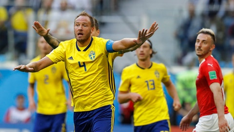 Sweden's Andreas Granqvist gestures during the round of 16 match between Switzerland and Sweden at the 2018 soccer World Cup in the St. Petersburg Stadium, in St. Petersburg, Russia, Tuesday, July 3, 2018. (AP Photo/Efrem Lukatsky)