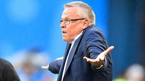 Sweden head coach Janne Andersson gestures during the round of 16 match between Switzerland and Sweden at the 2018 soccer World Cup in the St. Petersburg Stadium, in St. Petersburg, Russia, Tuesday, July 3, 2018. (AP Photo/Martin Meissner)