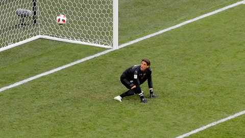 Switzerland goalkeeper Yann Sommer reacts after Sweden's Emil Forsberg scores his side's opening goal during the round of 16 match between Switzerland and Sweden at the 2018 soccer World Cup in the St. Petersburg Stadium, in St. Petersburg, Russia, Tuesday, July 3, 2018. (AP Photo/Dmitri Lovetsky)