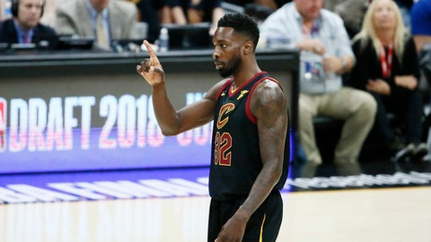 CLEVELAND, CA - JUN 8:  Jeff Green #32 of the Cleveland Cavaliers reacts against the Golden State Warriors in Game Four of the 2018 NBA Finals won 108-85 by the Golden State Warriors over the Cleveland Cavaliers at the Quicken Loans Arena on June 6, 2018 in Cleveland, Ohio. (Photo by Chris Elise/NBAE via Getty Images)