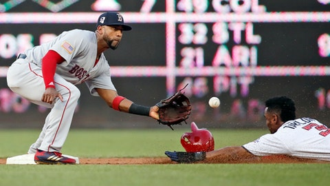 Boston Red Sox second baseman Eduardo Nunez waits for the ball to make the tag on Washington Nationals' Michael Taylor who was out at second base on the steal attempt, during the second inning of an interleague baseball game at Nationals Park Tuesday, July 3, 2018, in Washington. (AP Photo/Alex Brandon)