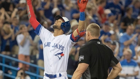 Toronto Blue Jays' Lourdes Gurriel Jr. reacts as he crosses home plate after hitting a two-run home run against the New York Mets during the eighth inning of a baseball game Tuesday, July 3, 2018, in Toronto. (Fred Thornhill/The Canadian Press via AP)