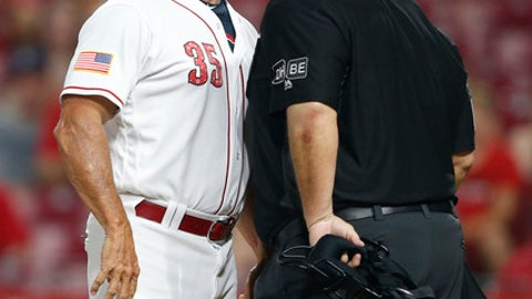 Cincinnati Reds interim manager Jim Riggleman, left, has a few words for home plate umpire Dan Iassogna, right, after being ejected during the 12th inning of the team's baseball game against the Chicago White Sox, Tuesday, July 3, 2018, in Cincinnati. The White Sox won 12-8 in 12 innings. (AP Photo/Gary Landers)