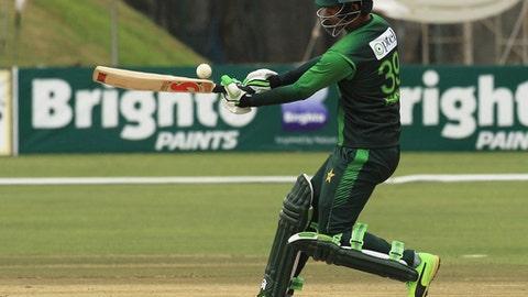 Pakistan batsman Fakhar Zaman plays a shot during the T20 cricket match against Australia at Harare Sports Club, in Harare, Zimbabwe, Thursday, July 5, 2018. Zimbabwe is playing host to a tri-nation Twenty20 international series with Australia and Pakistan. (AP Photo/Tsvangirayi Mukwazhi)