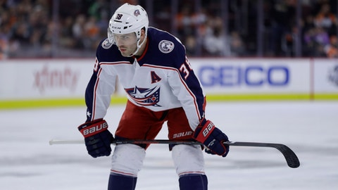 Columbus Blue Jackets' Boone Jenner in action during an NHL hockey game against the Philadelphia Flyers, Thursday, March 15, 2018, in Philadelphia. (AP Photo/Matt Slocum)