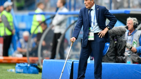 Uruguay head coach Oscar Tabarez reacts during the quarterfinal match between Uruguay and France at the 2018 soccer World Cup in the Nizhny Novgorod Stadium, in Nizhny Novgorod, Russia, Friday, July 6, 2018. (AP Photo/Martin Meissner)