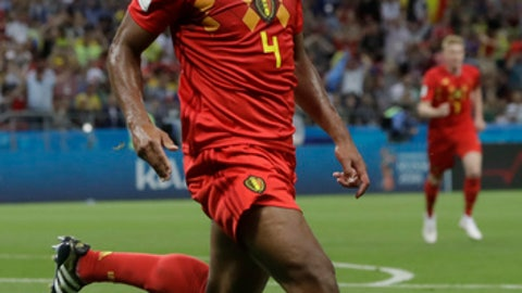 Belgium's Vincent Kompany celebrates after Brazil's Fernandinho scored an own goal during the quarterfinal match between Brazil and Belgium at the 2018 soccer World Cup in the Kazan Arena, in Kazan, Russia, Friday, July 6, 2018. (AP Photo/Andre Penner)