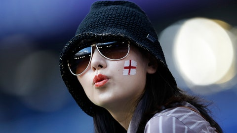 England's football fan in the stands before the start of the quarterfinal match between Sweden and England at the 2018 soccer World Cup in the Samara Arena, in Samara, Russia, Saturday, July 7, 2018. (AP Photo/Francisco Seco)