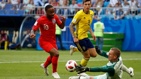 England's Raheem Sterling, passes by Sweden goalkeeper Robin Olsen during the quarterfinal match between Sweden and England at the 2018 soccer World Cup in the Samara Arena, in Samara, Russia, Saturday, July 7, 2018. (AP Photo/Francisco Seco)