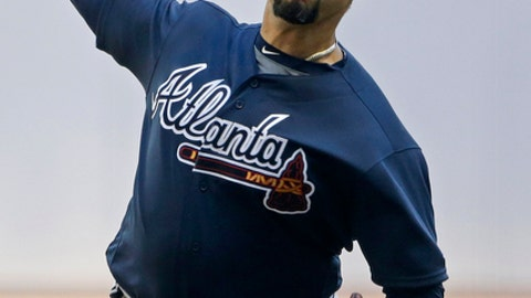 Atlanta Braves' Anibal Sanchez pitches during the first inning of a baseball game against the Milwaukee Brewers Saturday, July 7, 2018, in Milwaukee. (AP Photo/Aaron Gash)
