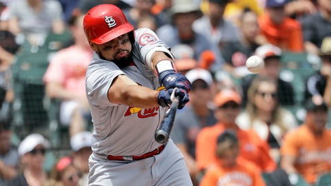 St. Louis Cardinals' Francisco Pena drives in a run with a single against the San Francisco Giants during the fourth inning of a baseball game Saturday, July 7, 2018, in San Francisco. (AP Photo/Marcio Jose Sanchez)
