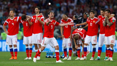 Russia's Alan Dzagoev gestures during the penalty shootout at the quarterfinal match between Russia and Croatia at the 2018 soccer World Cup in the Fisht Stadium, in Sochi, Russia, Saturday, July 7, 2018. (AP Photo/Manu Fernandez)