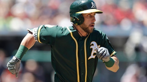 Oakland Athletics' Dustin Fowler runs to first base for a single in the second inning of a baseball game against the Cleveland Indians, Sunday, July 8, 2018, in Cleveland. (AP Photo/Tony Dejak)