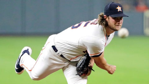 Houston Astros starting pitcher Gerrit Cole throws against the Oakland Athletics during the first inning of a baseball game Monday, July 9, 2018, in Houston. (AP Photo/David J. Phillip)