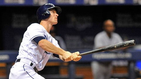 Tampa Bay Rays' Joey Wendle pinch hits a RBI-double off Detroit Tigers reliever Louis Coleman during the seventh inning of a baseball game Monday, July 9, 2018, in St. Petersburg, Fla. (AP Photo/Steve Nesius)