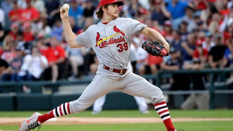 St. Louis Cardinals starting pitcher Miles Mikolas delivers during the first inning of a baseball game against the Chicago White Sox Tuesday, July 10, 2018, in Chicago. (AP Photo/Charles Rex Arbogast)
