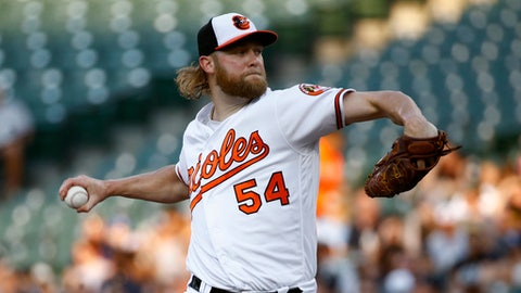 Baltimore Orioles starting pitcher Andrew Cashner throws to the New York Yankees in the second inning of a baseball game, Tuesday, July 10, 2018, in Baltimore. (AP Photo/Patrick Semansky)