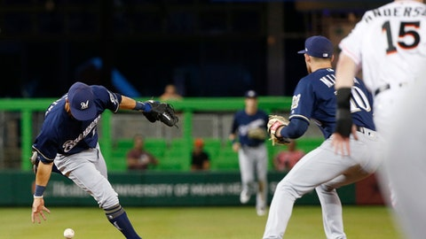 Milwaukee Brewers short stop Tyler Saladino, left, attempts to toss the ball to second baseman Brad Miller (10) as Miami Marlins' Brian Anderson (15) prepares to slide into second during the second inning of a baseball game, Tuesday, July 10, 2018, in Miami. Saladino was charged with a throwing error and Anderson was safe at second. (AP Photo/Wilfredo Lee)