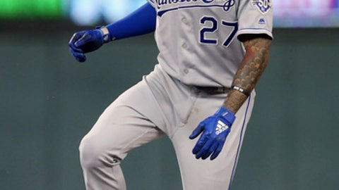 Kansas City Royals' Adalberto Mondesi steals second base in the sixth inning of a baseball game against the Minnesota Twins Tuesday, July 10, 2018, in Minneapolis. Mondesi had a three-run home run in the second inning and an RBI single in the sixth. (AP Photo/Jim Mone)