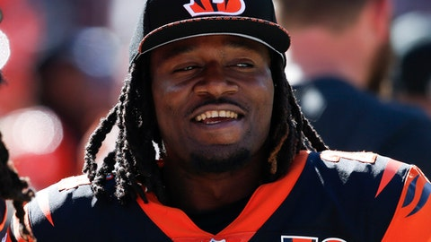 Cincinnati Bengals cornerback Adam Jones (24) stands on the sideline in the second half of an NFL football game against the Cleveland Browns, Sunday, Oct. 1, 2017, in Cleveland. (AP Photo/Ron Schwane)