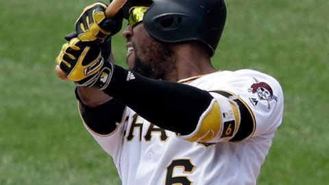 Pittsburgh Pirates' Starling Marte watches his two-run home run off Washington Nationals starting pitcher Gio Gonzalez in the third inning of a baseball game in Pittsburgh, Wednesday, July 11, 2018. (AP Photo/Gene J. Puskar)
