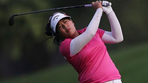 Thidapa Suwannapura of Thailand plays a shot on the 18th fairway during the third round of Dubai Ladies Classic golf tournament in Dubai, United Arab Emirates, Friday, Dec. 8, 2017. (AP Photo/Kamran Jebreili)