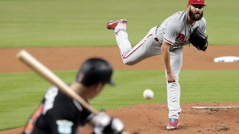 Philadelphia Phillies starting pitcher Jake Arrieta delivers during the first inning of the team's baseball game against the Miami Marlins, Friday, July 13, 2018, in Miami. (AP Photo/Lynne Sladky)