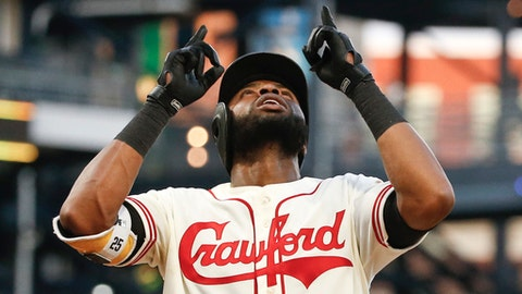 Pittsburgh Pirates' Gregory Polanco points upward as he scores after hitting a solo home run off Milwaukee Brewers starting pitcher Junior Guerra during the fourth inning of a baseball game Friday, July 13, 2018, in Pittsburgh. (AP Photo/Keith Srakocic)