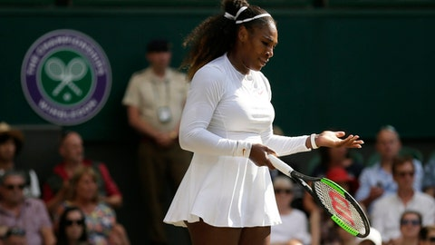 Serena Williams of the United States is dejected after losing a point to Germany's Angelique Kerber during their women's singles final match at the Wimbledon Tennis Championships, in London, Saturday July 14, 2018.(AP Photo/Tim Ireland)