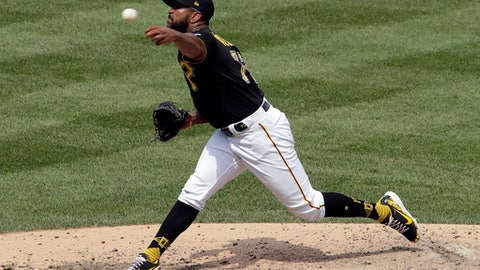 Pittsburgh Pirates relief pitcher Felipe Vazquez delivers in the top of the ninth inning in the first baseball of a doubleheader against the Milwaukee Brewers in Pittsburgh, Saturday, July 14, 2018. The Pirates won 2-1. (AP Photo/Gene J. Puskar)