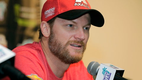 FILE - In this Nov. 17, 2017, file photo, Dale Earnhardt Jr. speaks with the media during a news conference before a NASCAR Cup Series auto race at Homestead-Miami Speedway in Homestead, Fla. NBC Sports is set to bench its play-by-play NASCAR announcer for an all-analyst lineup headlined by Dale Earnhardt Jr. The network will use three analysts in the broadcast booth for next week's NASCAR Cup race at New Hampshire Motor Speedway. Earnhardt, Jeff Burton and Steve Letarte will be the only broadcasters for the July 22 race at the Magic Mile.  (AP Photo/Terry Renna, File)