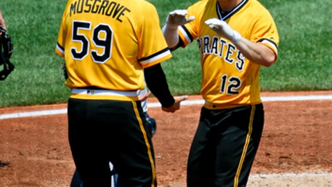 Pittsburgh Pirates' Corey Dickerson (12) is greeted by starting pitcher Joe Musgrove after driving him in with a two-run home run in the third inning of a baseball game against the Milwaukee Brewers, Sunday, July 15, 2018, in Pittsburgh. Milwaukee Brewers catcher Erik Kratz, is at top left. (AP Photo/Keith Srakocic)