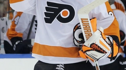Philadelphia Flyers goalie Ray Emery during the second period of an NHL hockey game against the Tampa Bay Lightning Thursday, Oct. 30, 2014, in Tampa, Fla. (AP Photo/Chris O'Meara)