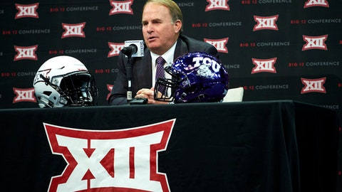 TCU football head coach Gary Patterson speaks during NCAA college football Big 12 media days in Frisco, Texas, Monday, July 16, 2018. (AP Photo/Cooper Neill)